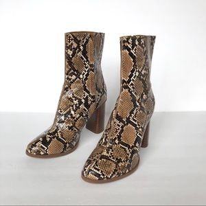 Mango Black/Brown Snake Effect Ankle Boots 37/6.5
